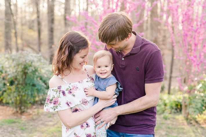 Howard County spring family photographer, purple clothes for family photos, purple flowers for spring family photos, golden hour photography, 1 year old family pictures