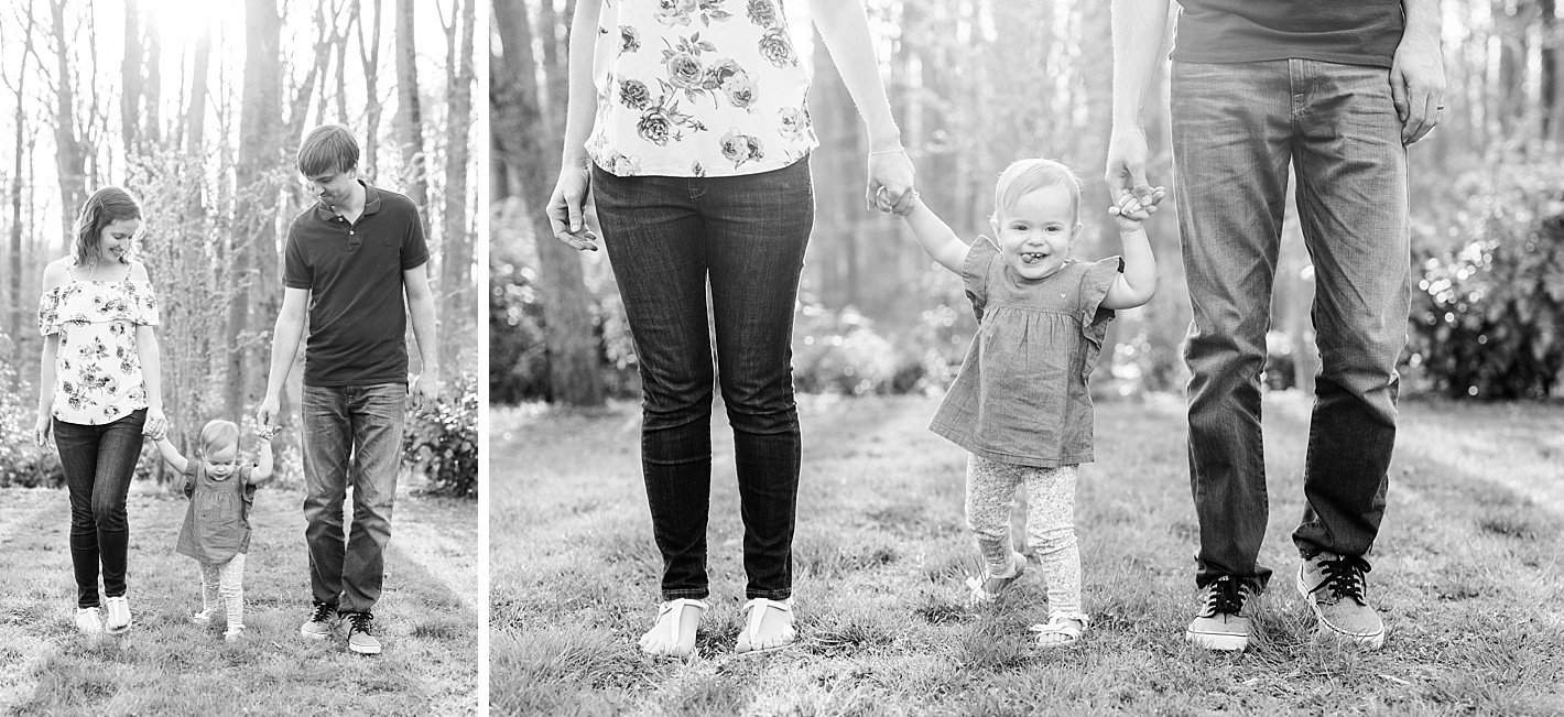 Spring family photos in Howard county MD, posing for family with 1 year old, arpasi photography, black and white hand holding photo