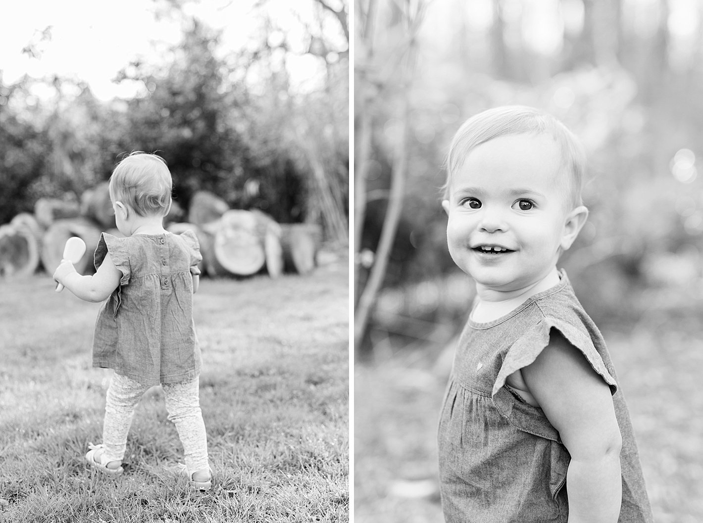 Spring family photos in Howard county MD, posing for family with 1 year old, arpasi photography, black and white photo of 1 year old, toddler smile in black and white