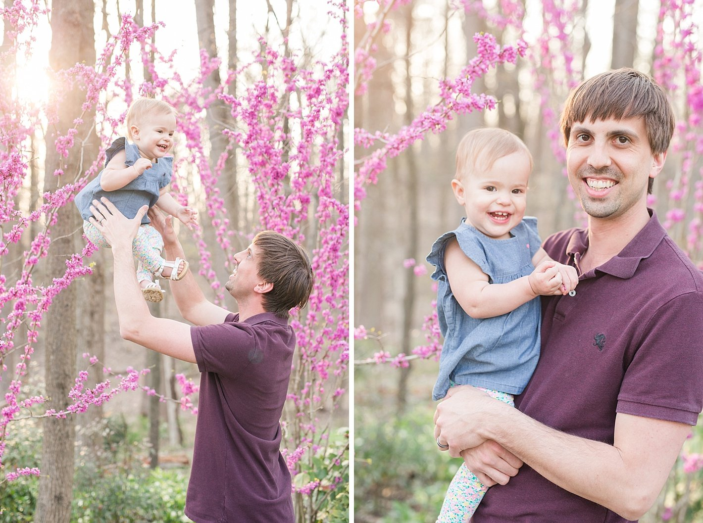 Spring family photos in Howard county MD, posing for family with 1 year old, arpasi photography, daddy and daughter photos, daddy and baby, natural family posing, purple flowers family photography