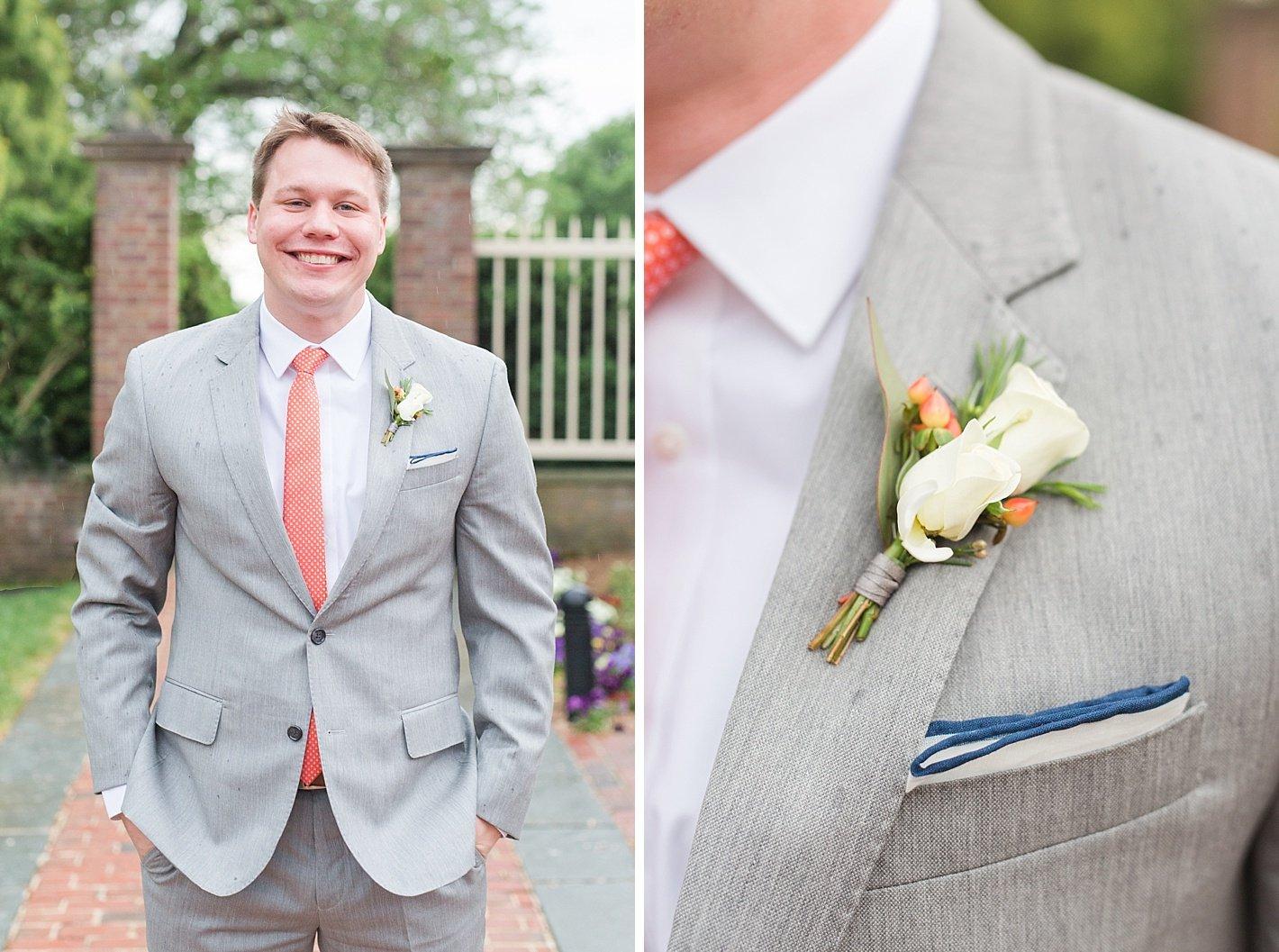 Newton white Mansion wedding photography white rose boutonniere
