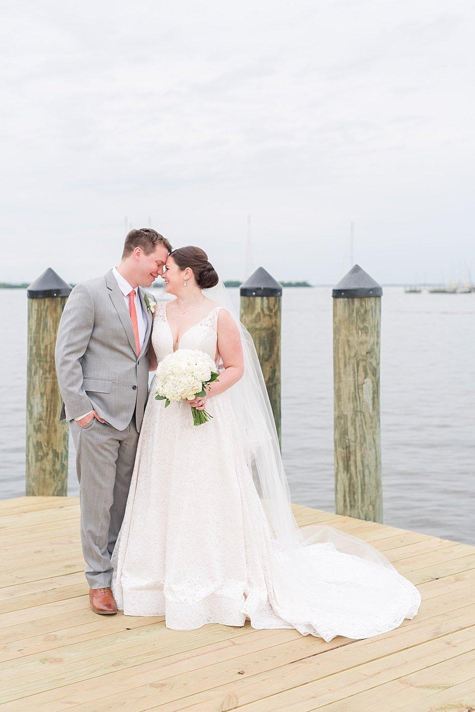 bride and groom bridal portraits Annapolis docks
