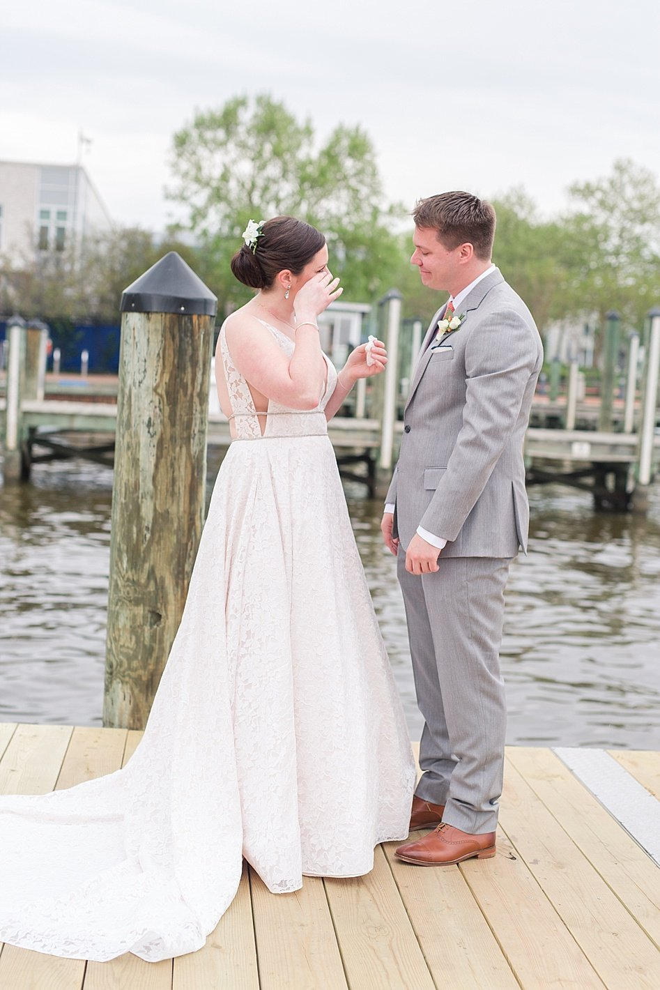 Bride and groom first glance on Annapolis docks