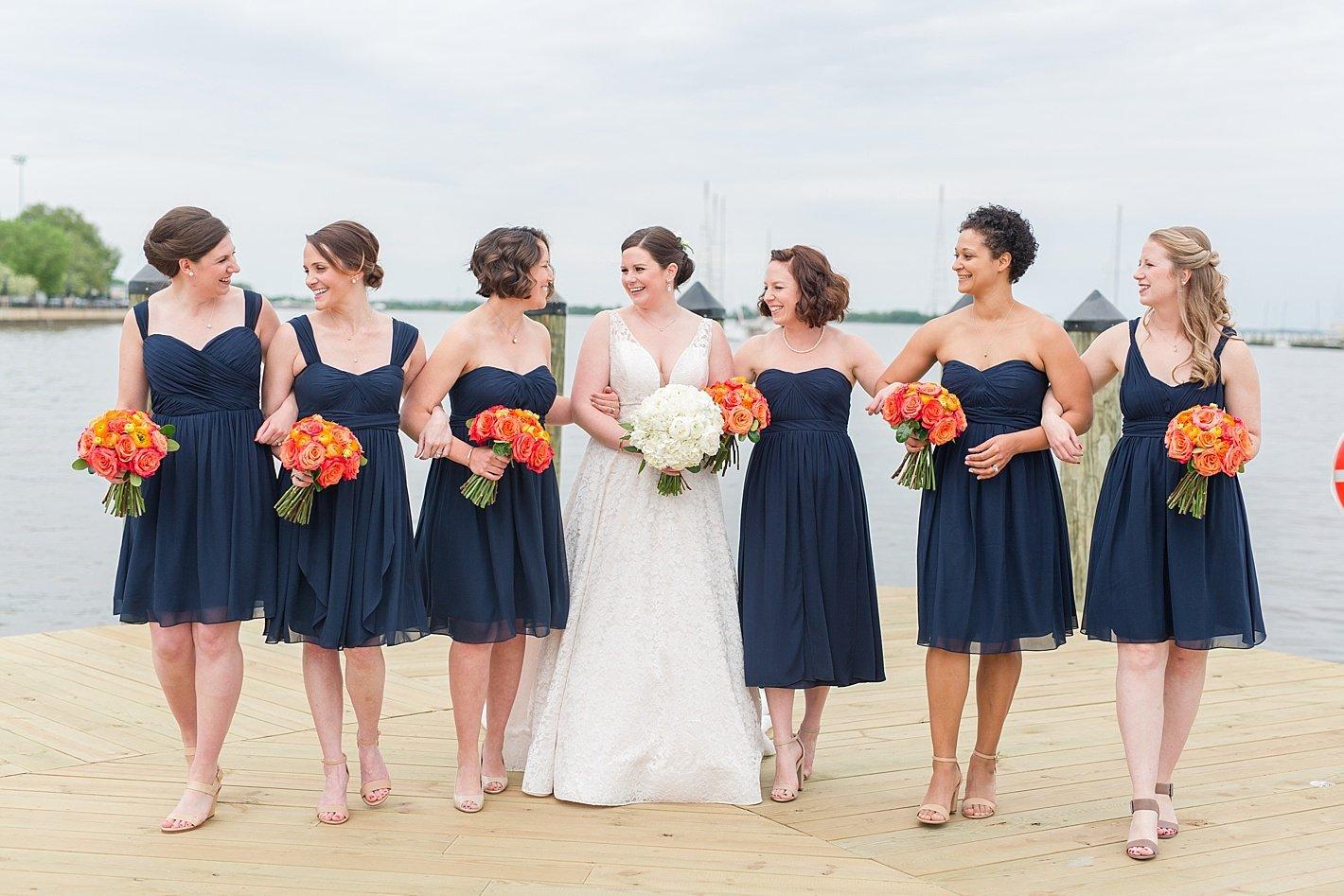 Navy bridesmaid dresses Jenny Yoo dresses Annapolis docks