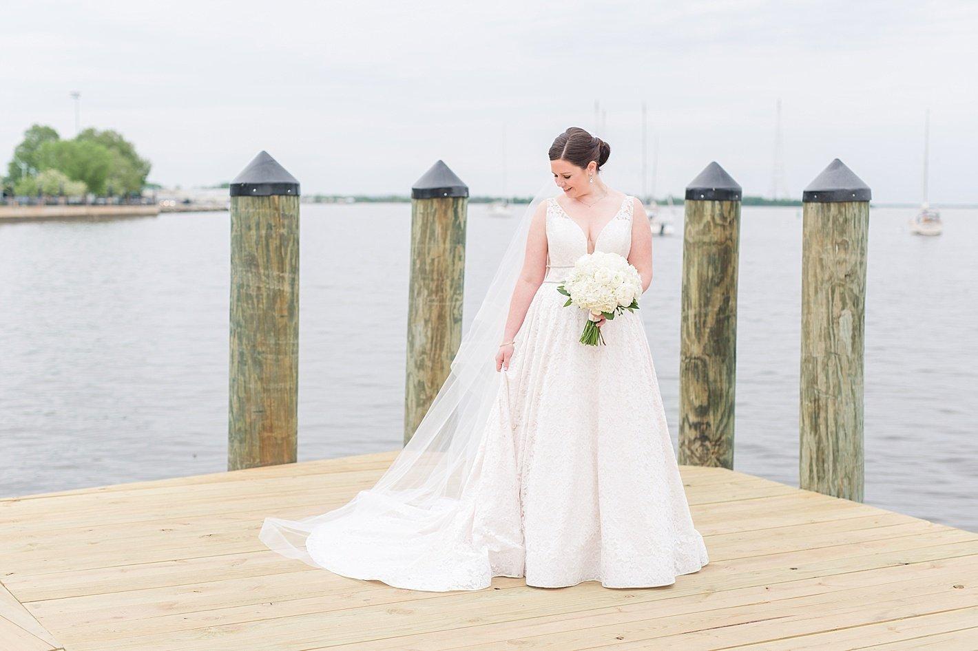 La Jeune Mariée bridal gown Annapolis MD bride white peony and rose bouquet