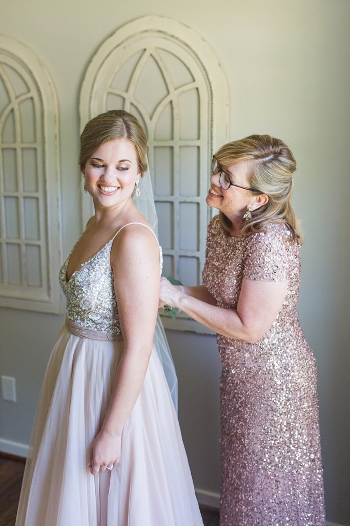 Bride and Mother Before Eagles Nest Country Club Wedding