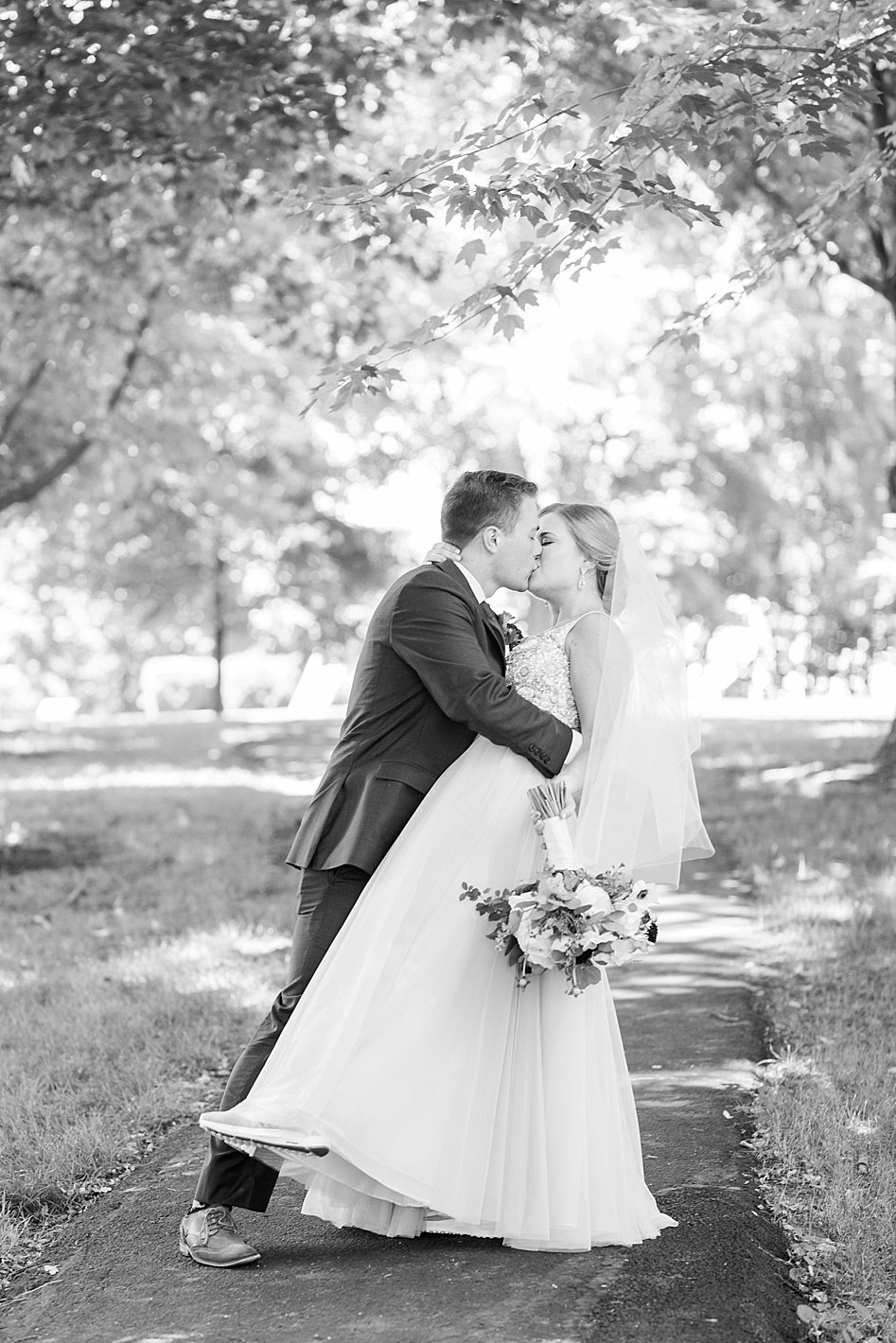 bride and groom wedding portraits in black and white, BHLDN wedding gown, navy groom suit maroon tie, arpasi photography