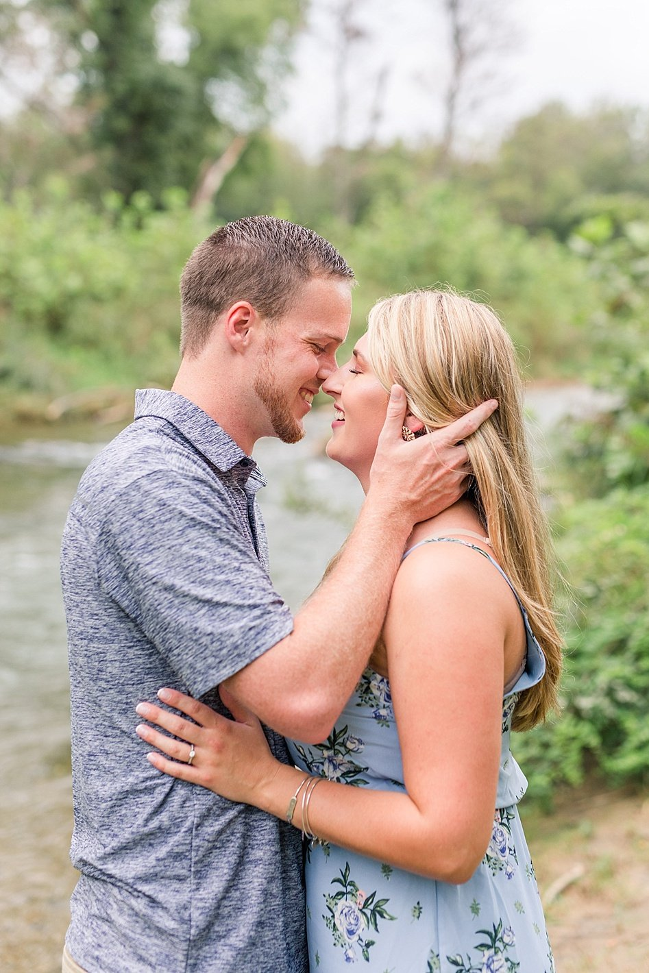 NCR trail engagement photography, Baltimore engagement photographer, coordinating blue outfits for engagement photos, engagement posing