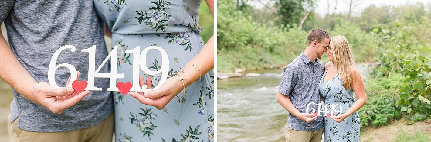 NCR trail engagement photography, Baltimore engagement photographer, coordinating blue outfits for engagement photos, save the date wood sign