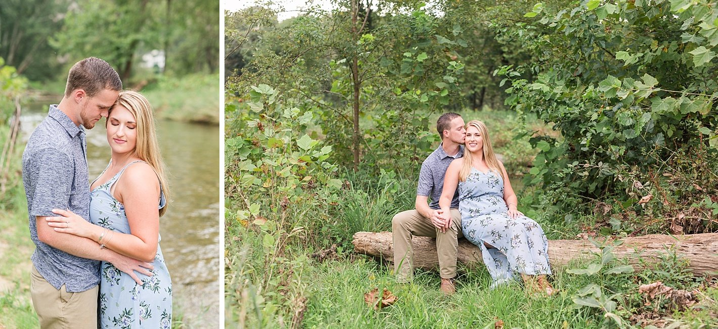 NCR trail engagement photography, Baltimore engagement photographer, coordinating blue outfits for engagement photos