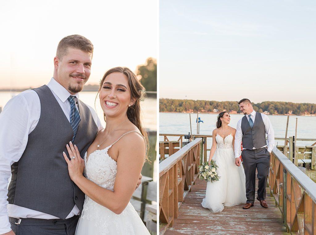 Newlyweds on Pier at Bohemia Overlook