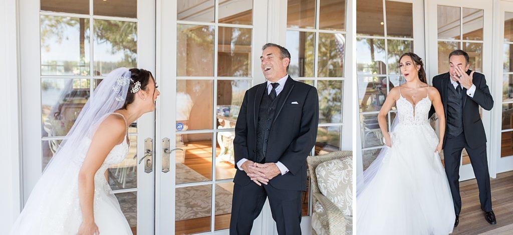 Bride and Father at Bohemia Overlook Wedding Venue