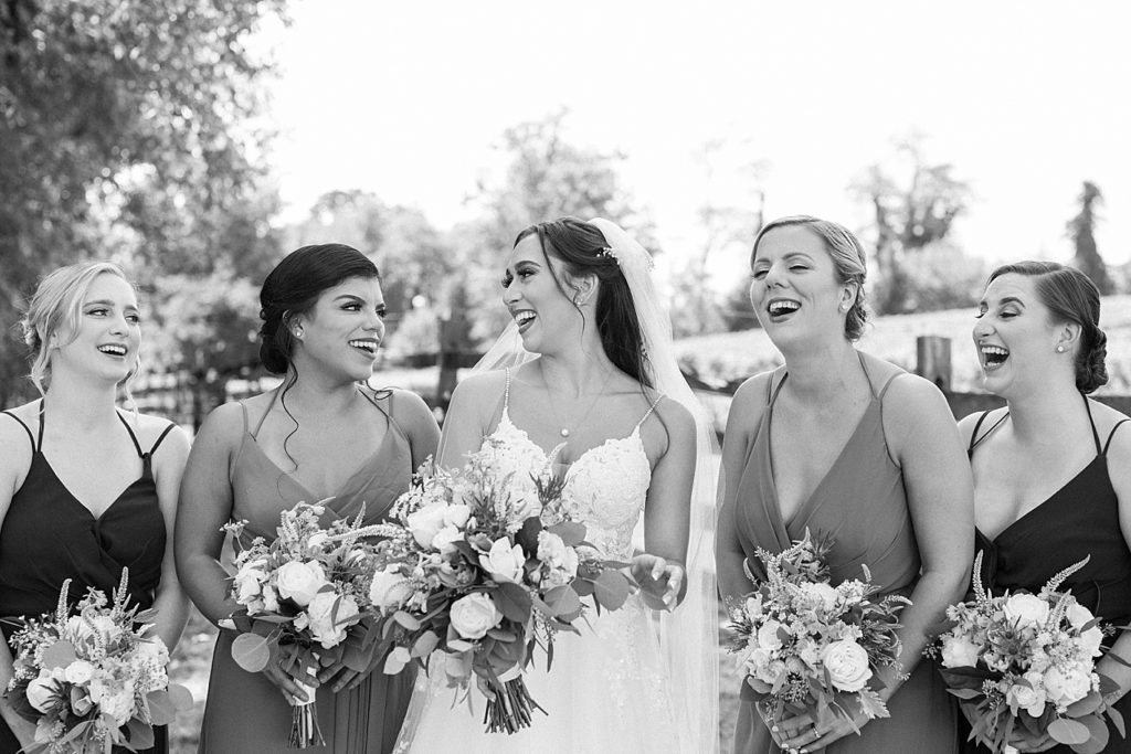 Black and White Version of Bridesmaids at Bohemia Overlook Wedding Venue