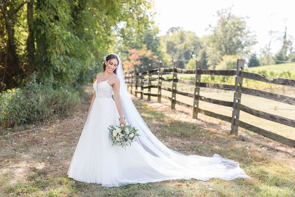 Bride and Gown at Bohemia Overlook Wedding Venue