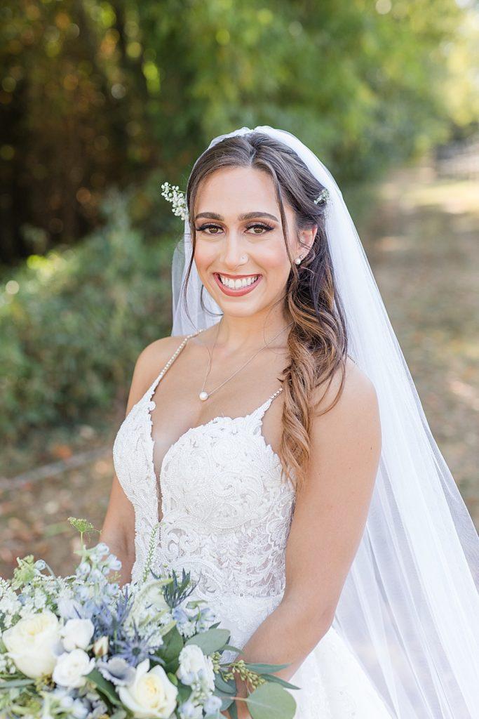 Close Up of Bride at Bohemia Overlook Wedding Venue
