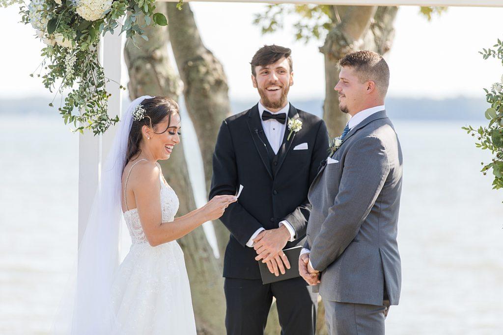 Vows at Bohemia Overlook Wedding Ceremony