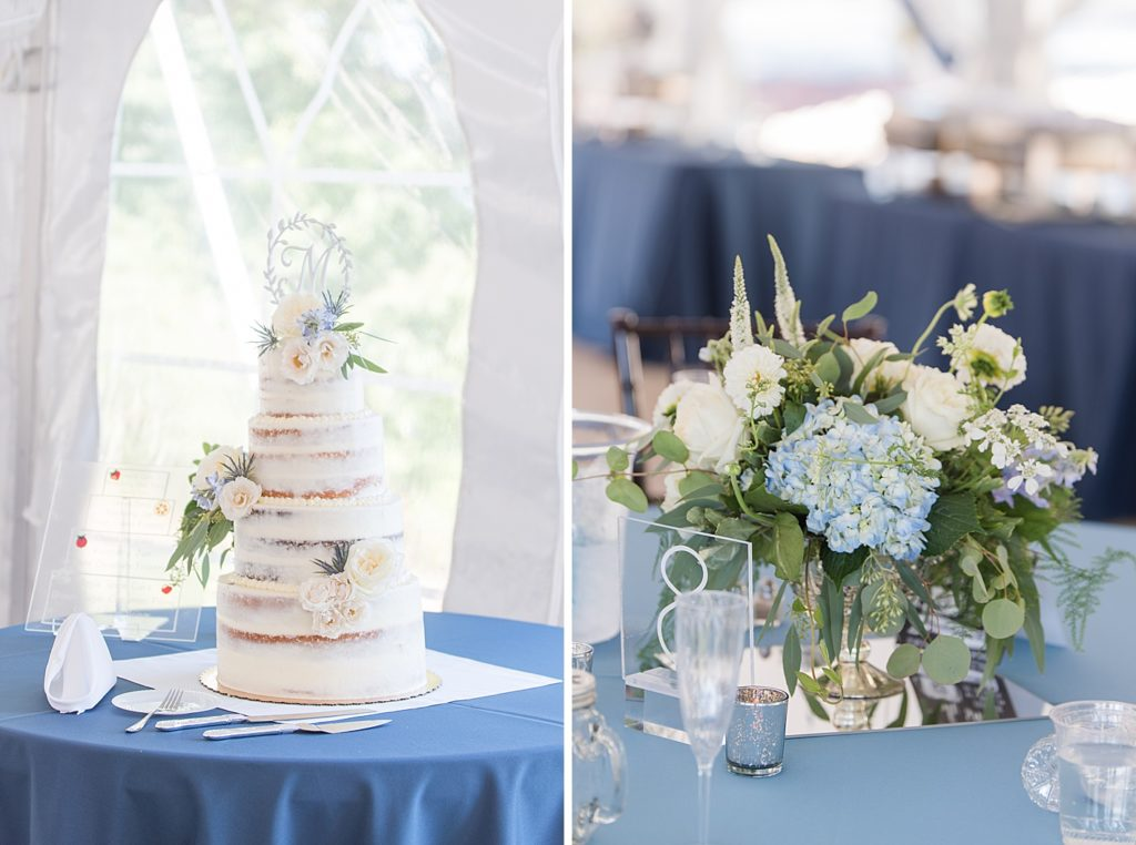 Cake and Flowers at Bohemia Overlook Wedding
