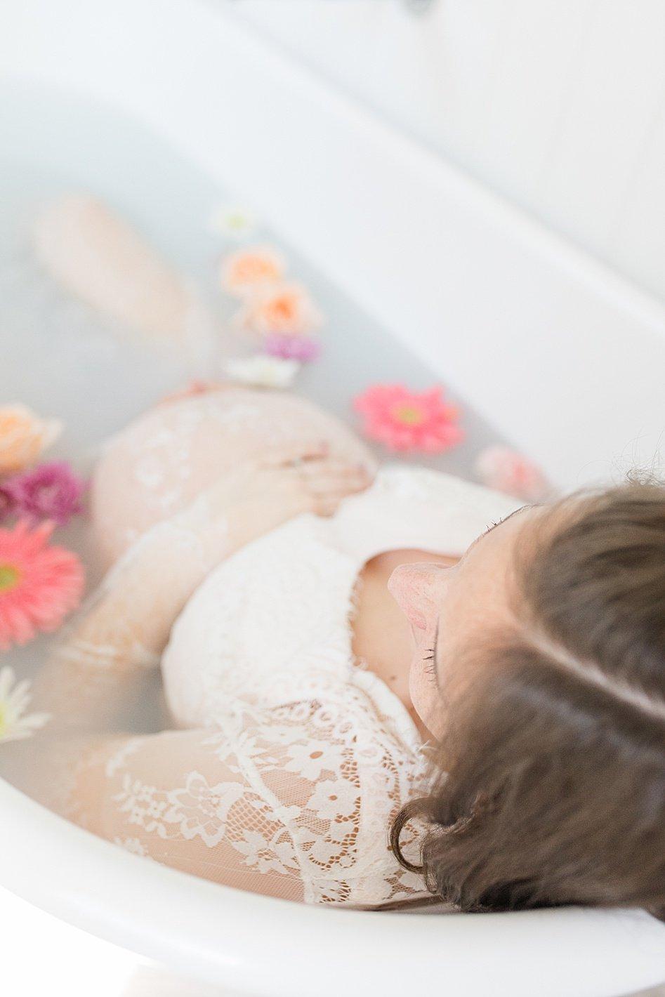 milk bath maternity photography